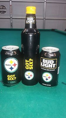 Steelers 2017 Bud Light 2 cans plus 1 alum. bottle Free S/H
