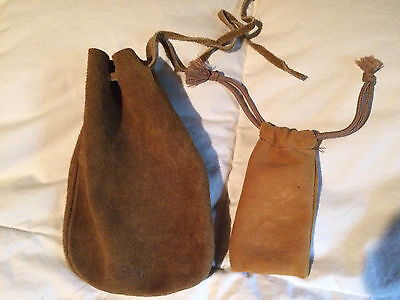 2 Suede Leather Pouch Bag Reenactment Drawstring Coin Medieval Jewelry Brown