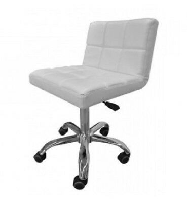 Quilted Office Salon Stool Seat White PU Leather Reception Desk Beauty Wheels