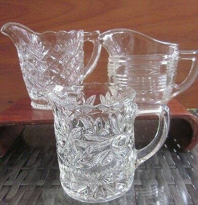 3 depression moulded clear glass small MILK - CREAM JUGS