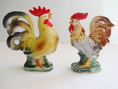 Lot of 2 Vintage Hand Painted Ceramic Roosters Figurines ~ Made in Japan