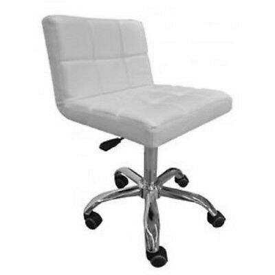 Quilted Beauty Nail Facial Reception Desk Office Stool Seat White Chair