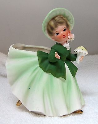 Vintage INARCO E-2447 Saint Patrick's Day Girl Planter Hand's & Foot Away SHP