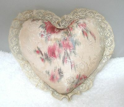 """Vintage Moire Satin & Lace Heart Pincushion 5"""" Has Wear But Old & Sweet SHP"""