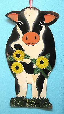 Cute Metal Hand Painted Cow Sign Wall Hanging Colorful 2 Sided Sunflowers SHP