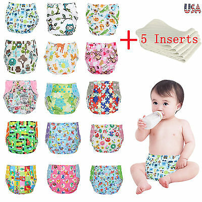 One Size Cloth Diapers + 5 Bamboo Inserts Adjustable Reusable For Baby newborn