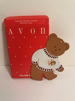Avon November Teddy Bear Birthday Ornament - New