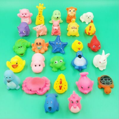 Soft Rubber Baby Wash Floating Toy Sqeeze Sound Cute Animals Bath Swimming Toy