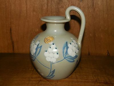 Bo Fajans Sweden BV ~ 3640 ~ Blue and White Floral ~ Jug / Vase / Pitcher ~ 4.5""