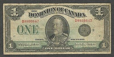 1923 $1.00 DC-25n VG-F SCARCE George V BLACK Seal Dominion of Canada One Dollar