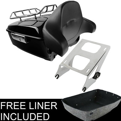 King Tour Pak Pack Trunk +Rack Backrest For Harley Street Road Glide 2014-2018