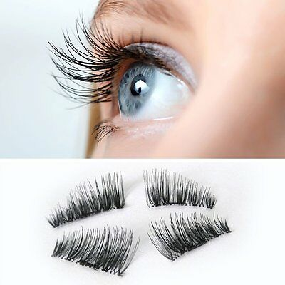 New Natural Silk 3D Mink Lashes False Magnetic Eyelashes women set of 4 makeup