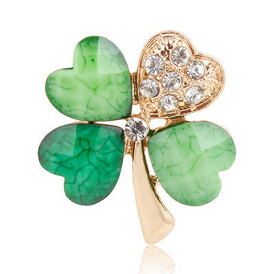 Vintage Style Lucky Four Leaf Clover Rhinestone Diamante Crystal Pin Brooch GIFT