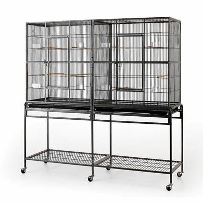 Double Flight Bird Cage w/ Divider for Canary Parakeet Cockatiel Lovebird Finch