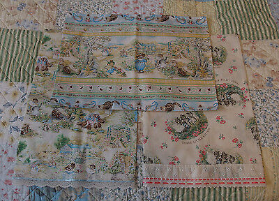 3 Baby Pillowcases w/ Different Kitty Cats Printed Cotton Fabrics, NEVER USED
