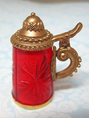 Older Thimble Cut RED Glass German Stein w Working Lid Gold Metal Star Design M5