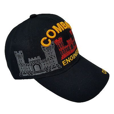 US Military Combat Engineer In Red Construction Black Licensed Cap