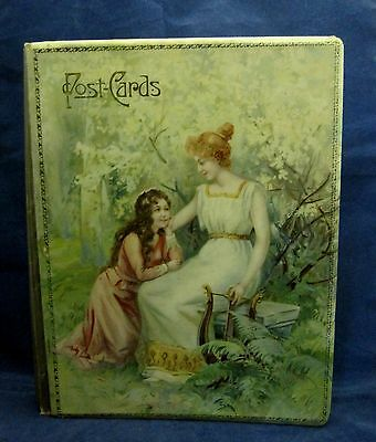 Victorian PostCard Album Book Celluliod Cover & 19 Cards Lovely Lady & Girl SHP