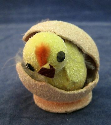 Vintage Pink Easter Egg w Yellow Chick Inside Paper w Sugar beads Old Japan SHP