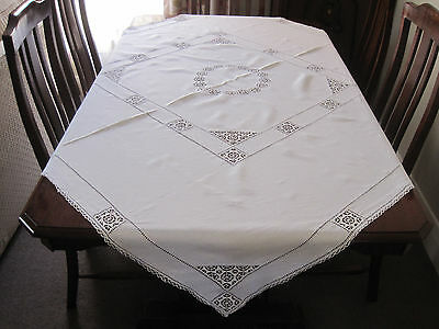 Fabulous Pure White Linen Hand Worked Tablecloth With The Finest Crochet Inserts