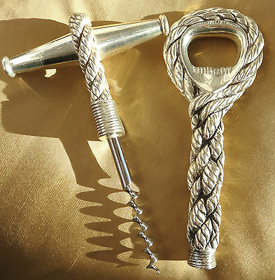 HERMÈS Bar Set silver bottle opener AND cork screw