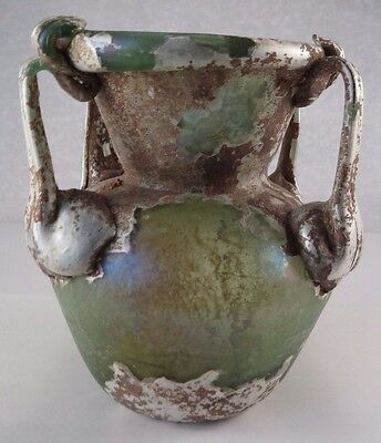 Ancient Roman Glass Vase Vessel Oil Vessel - 100 AD 4 1/4 Inches Tall