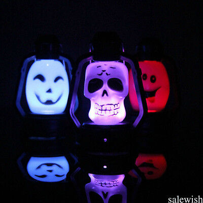 Halloween Pop Flash Skull Grimace LED Lantern Colorful Night Light Lamp Decor D3