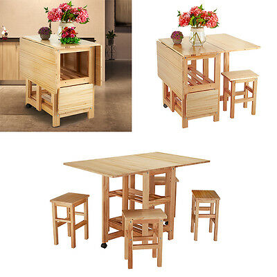 Savoy Folding Drop Leaf Butterfly Dining Set With Table 4