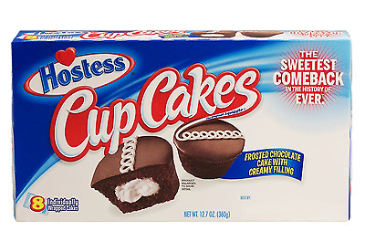 903360 360g BOX OF 8 OF HOSTESS' CHOCOLATE CUP CAKES WITH CREAMY FILLING! USA