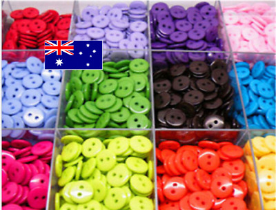 100 Round Candy Color Scrapbooking Embellishment Resin Sewing 2 Holes Buttons 12