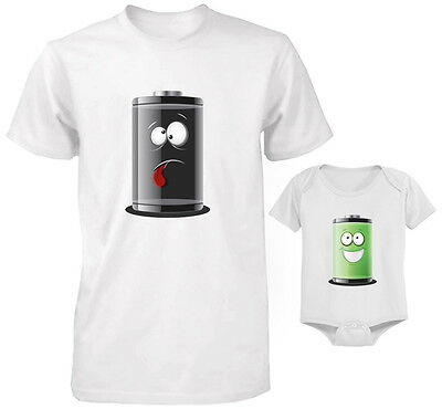 ENERGY EMPTY - FULL Funny Cute Daddy and Baby Matching T-Shirt and Bodysuit Set