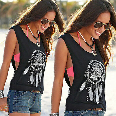Womens Graphic Tops Vest Summer Sleeveless T-Shirts Blouse Loose Tank Tops Black