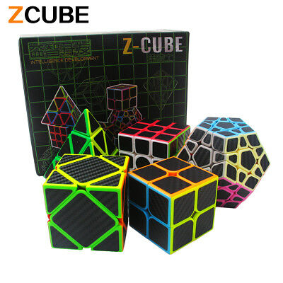 5pcs Carbon Fiber Magic Cube Pyraminx Megaminx  Axis Cube Speed Magic Puzzle Toy