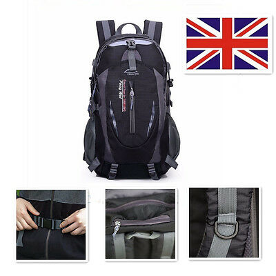 UK 40L Waterproof Camping Hiking Sport Backpack Outdoor Travel Rucksack Bike Bag