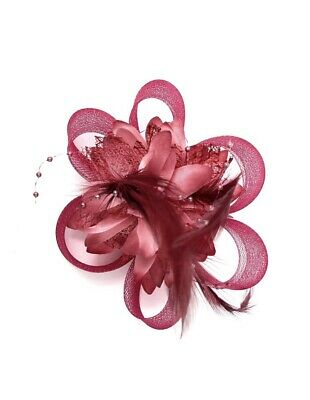 Burgundy Red Feather Fascinator Hair Clip Ladies Day Races Party Wedding