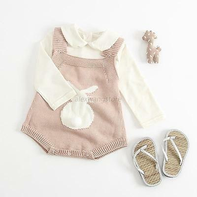 Newborn Infant Baby Girl Knitted Romper Bodysuit Jumpsuit Outfit Sunsuit Clothes