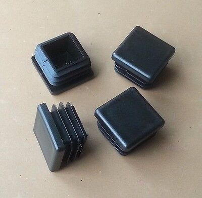 25x25mm Square Plastic End Caps Blanking Plugs Tube Box Section Inserts / Black