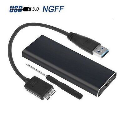 M.2 NGFF SSD SATA TO USB 3.0 External Enclosure Storage Case Adapter Aluminium