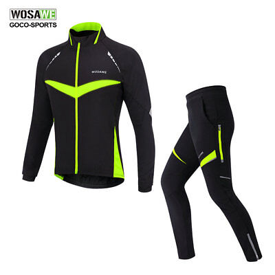 Men Thermal Winter Cycling Jacket Set Windproof Bicycle Coat Clothing LongSleeve