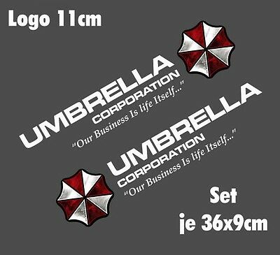 Resident Evil Umbrella Corporation Sticker Auto Aufkleber SET Car silber weiß 50