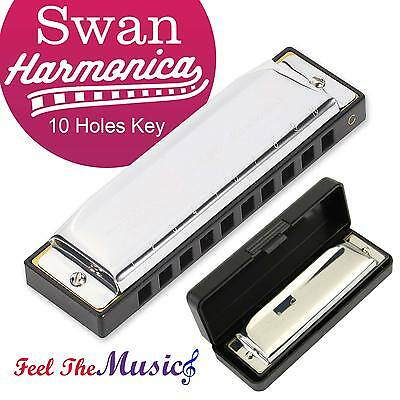 Swan Harmonica 10 Holes Key of C SILVER With Blues Harp Case Stainless Steel USA