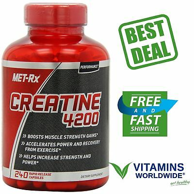 CREATINE 4200 MUSCLE STRENGTH Gain Power Recovery 240 Capsules Rapid Release