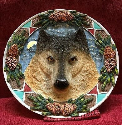 "3-D Polyresin 7 1/4"" Raised Wolf Face with Southwestern Decoration Around Edge"