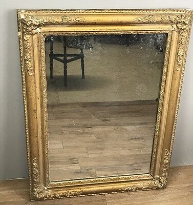 Antique French Mirror, Mercury Foxed Glass In Gilt Frame