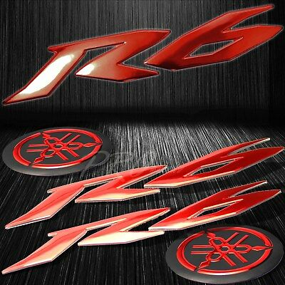 "6"" ABS 3D Logo Emblem+2"" Fairing/Fender Badge Sticker for YZF-R6/R6S Chromed Red"