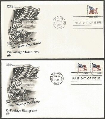 Us Fdcs 1978 The Land Of The Free-The Home Of The Brave 15C Stamp Coil & Booklet
