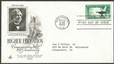 Us Fdc 1962 Higher Education 4C Stamp Ac First Day Of Issue Cover + Insert