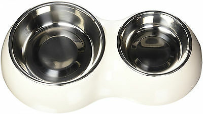 Anti-Slip Double Pet Bowl Dish Cat Dog Water & Food Station Tray Easy To Clean