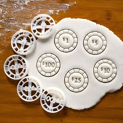 Set of 5 Poker Chips Cookie Cutters, Casino party bachelor night biscuit