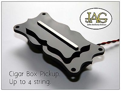 "Ornate ""Biscuit"" Cigar Box Guitar  Black pickup by JAG Hand built in the UK J034"